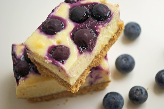 Lemon Blueberry Cheesecake Bars from ohmyomiyage