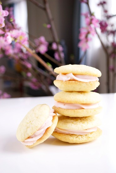 Strawberry Cream Cheese Frosting Filled Sugar Cookies by oh my omiyage